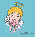 cute cupid with love heart on sky cartoon vector image