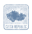 czech travel stamp with silhouette of map vector image vector image