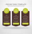 Design Template for Pricing Table for Websites and vector image