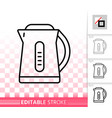 electric kettle simple black line icon vector image vector image