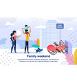 family happy weekend flat banner poster vector image