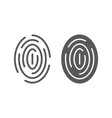 fingerprint line and glyph icon scan and vector image vector image