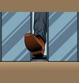 foot holds closing elevator door pop art vector image vector image