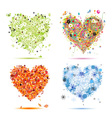 Four seasons hearts - spring summer autumn winter vector image vector image