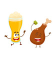 funny beer glass and fried chicken leg characters vector image vector image