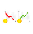 growth and fall bitcoin graph growth of vector image vector image