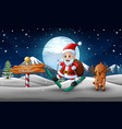 happy santa claus skiing and a deer on the snowy r vector image