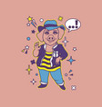 hipster pig cartoon t shirt design vector image vector image