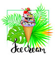 ice cream with tropical leaves vector image vector image