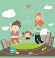 joyful family is jumping dad mom and daughter vector image vector image