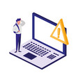 laptop computer with alert symbol vector image vector image