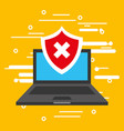 laptop computer with security shield isolated icon vector image vector image