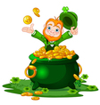 Leprechaun and Pot of gold vector image vector image