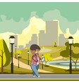 man walking using gadget vector image vector image