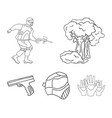 mask gun paint inventory paintball set vector image vector image