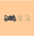 motorcycle dark grey set icon vector image vector image
