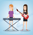 music festival live with women playing piano and vector image vector image