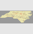 north carolina accurate high detailed state map vector image vector image
