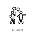 outline quarrel icon isolated black simple line vector image vector image