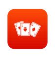 playing cards icon digital red vector image vector image