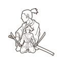 samurai warriors with swords action cartoon vector image vector image
