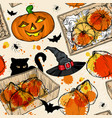 seamless pattern with halloween set vector image vector image