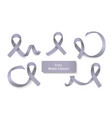 set grey curly ribbons and loops realistic vector image vector image