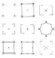Set of nine square black doodle frames vector image vector image