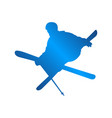 silhouette blue skiing people logo design vector image