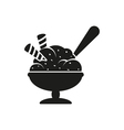 Simple black Ice cream in bowl with spoon style vector image