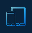 smartphone with tablet blue outline icon vector image
