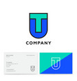 t and u letters monogram heraldic shield vector image vector image