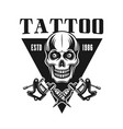 tattoo studio emblem with skull vector image vector image