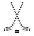 two crossed hockey sticks vector image vector image