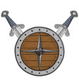 viking round shield with swords colored hand vector image vector image