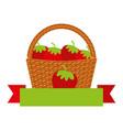 Wicker basket with fresh strawberry