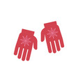 winter knitted gloves with vector image vector image