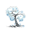 winter tree on white vector image vector image