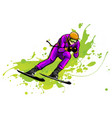 young man riding on skis on snow winter flat vector image