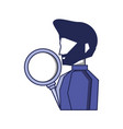 young man with beard and magnifying glass vector image