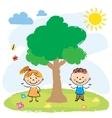 Boy and girl near big tree vector image