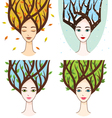set with woman of seasons vector image