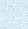 White 3D with colors hexagonal grid vector image