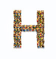 a group of people in english alphabet letter h vector image
