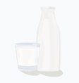 and glass milk bottle vector image vector image