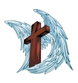 Angel wings with wooden cross vector image