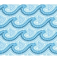 Blue dotted mosaic Australian style waves seamless vector image vector image