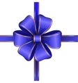 blue gift bow with ribbon vector image vector image