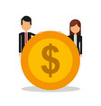 business couple with coin dollar avatar character vector image vector image