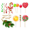 candies lollypops christmas set vector image